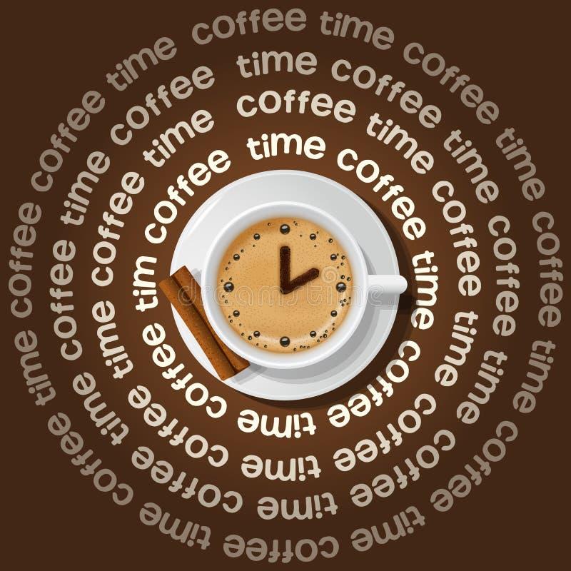 Tasse d'horloge dans le cappuccino illustration stock
