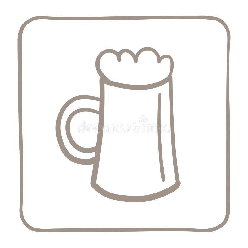 Tasse d'ic?ne de bi?re dans un cadre brun clair Dessins de vecteur illustration libre de droits