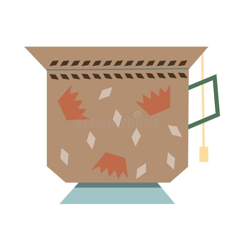Tasse d'illustration simple plate de style asiatique de thé illustration de vecteur