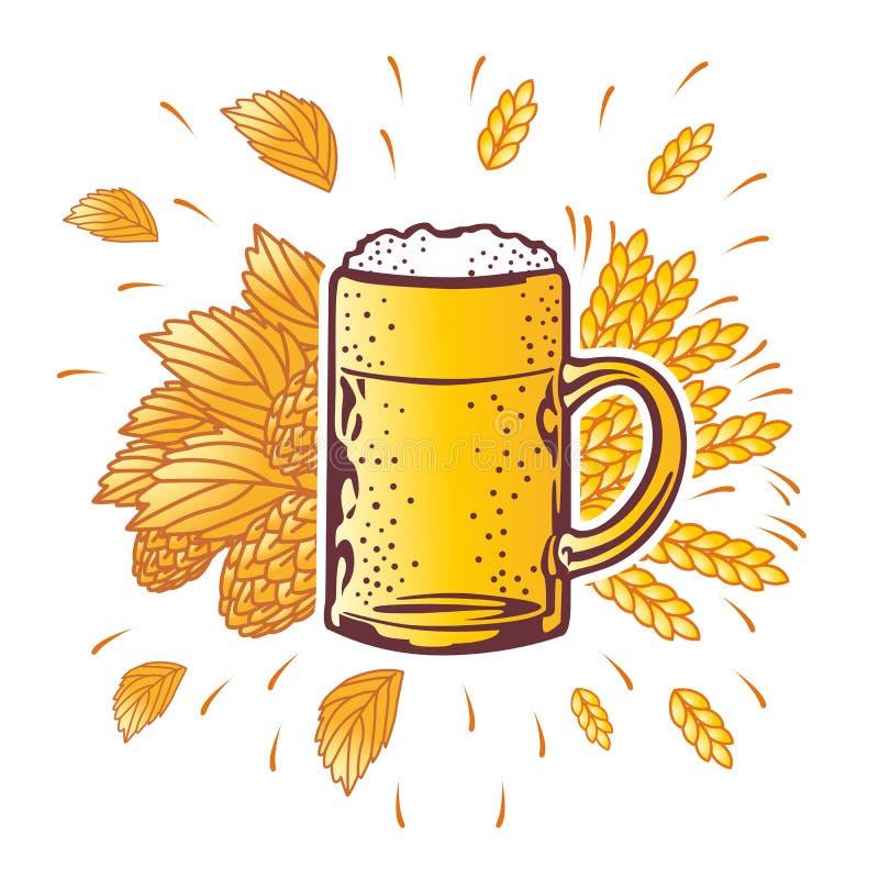 Tasse de bière de bouclier avec des branches d'houblon Vecteur illustration de vecteur
