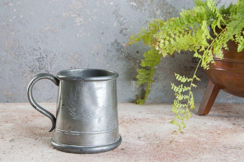 Tasse de bière d'étain de cru et plante verte images stock