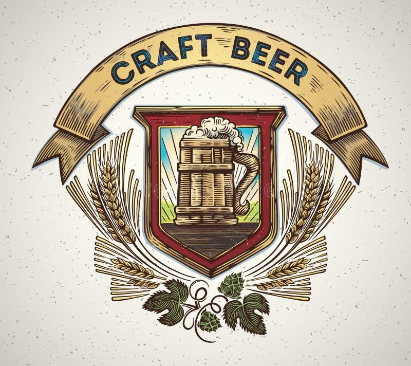 Tasse de bière dans un style graphique illustration libre de droits