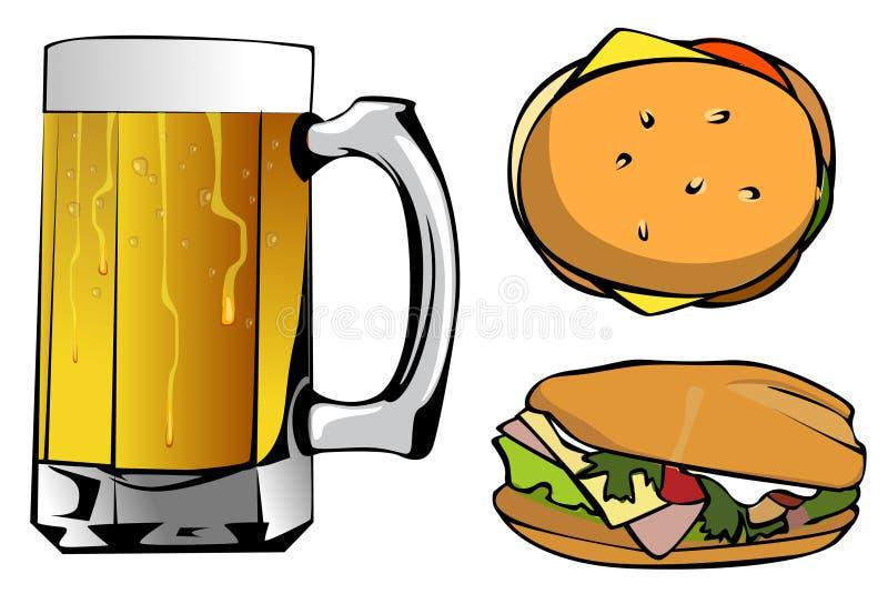 Tasse de bière et de deux hamburgers illustration libre de droits