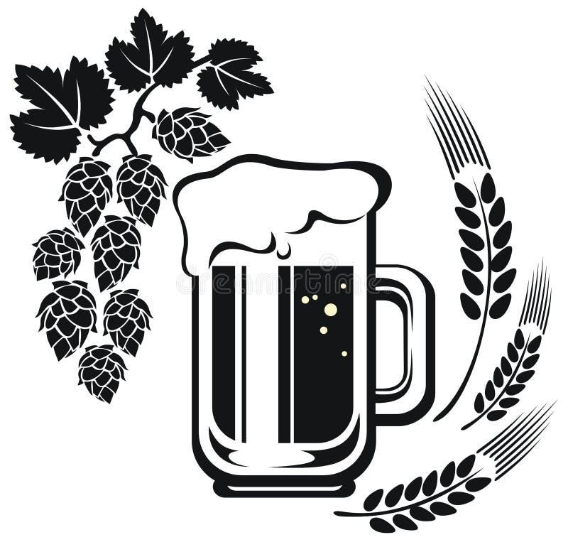 Tasse de bière et oreille de blé illustration de vecteur