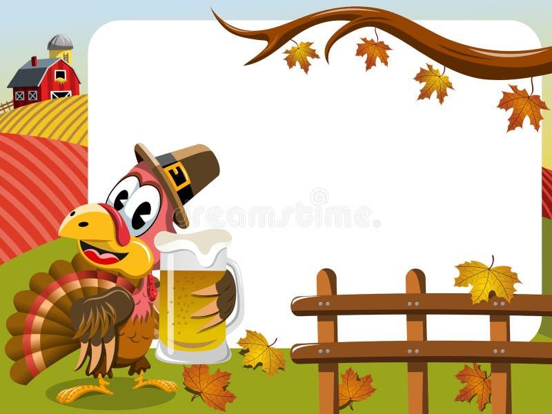 Tasse de bière horizontale de dinde de pèlerin de cadre de jour de thanksgiving illustration libre de droits