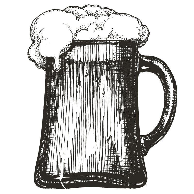 Tasse de bière sur le fond blanc illustration stock