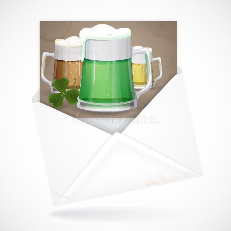 Tasse de bière verte pour le jour de St Patrick. illustration libre de droits