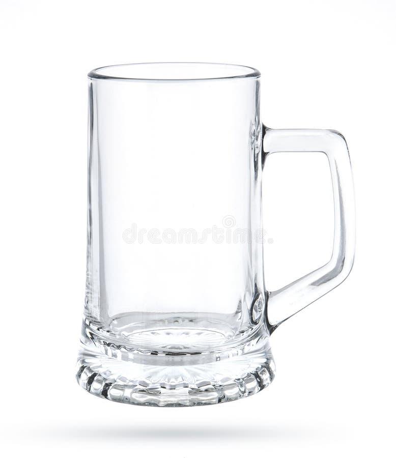 Tasse de bière vide d'isolement sur le fond blanc images stock
