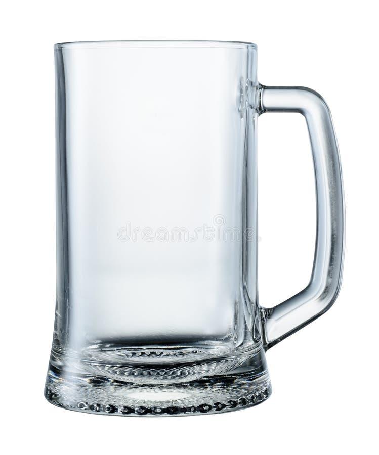 Tasse de bière vide d'isolement sur le fond blanc Avec le chemin de coupure photos stock