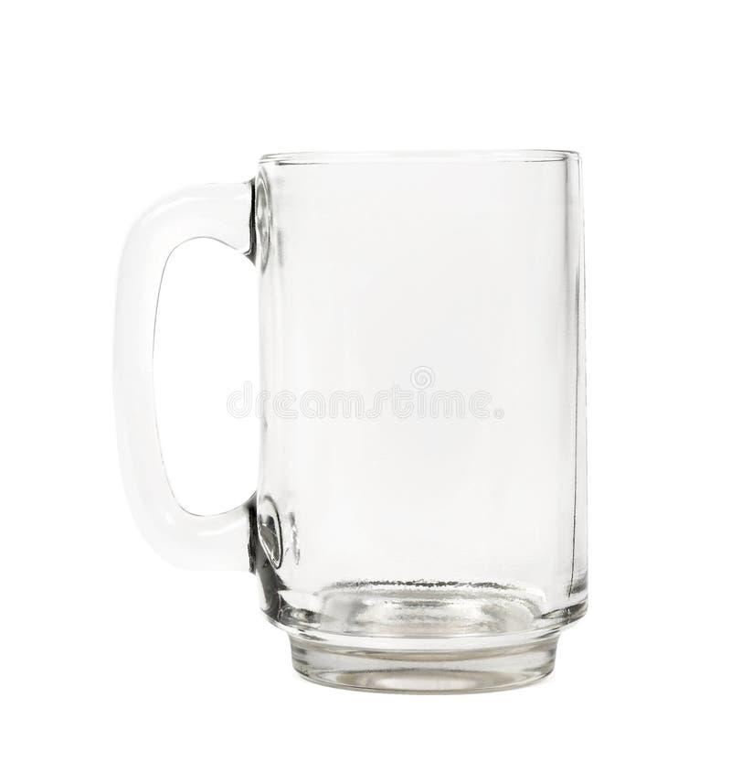 Tasse de bière vide sur le blanc photo stock