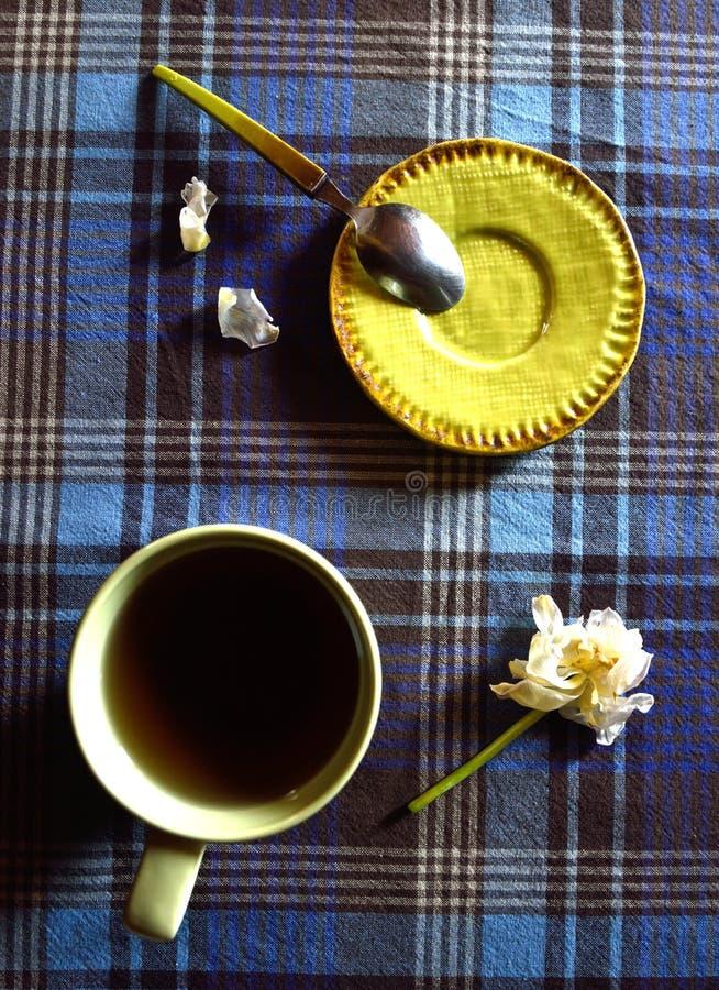 Tasse de boisson chaude avec la tulipe blanche et peu de plat image libre de droits