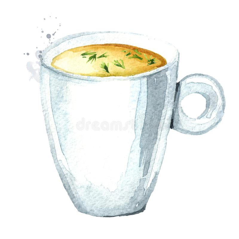 Tasse de bouillon Illustration tir?e par la main d'aquarelle, d'isolement sur le fond blanc illustration de vecteur