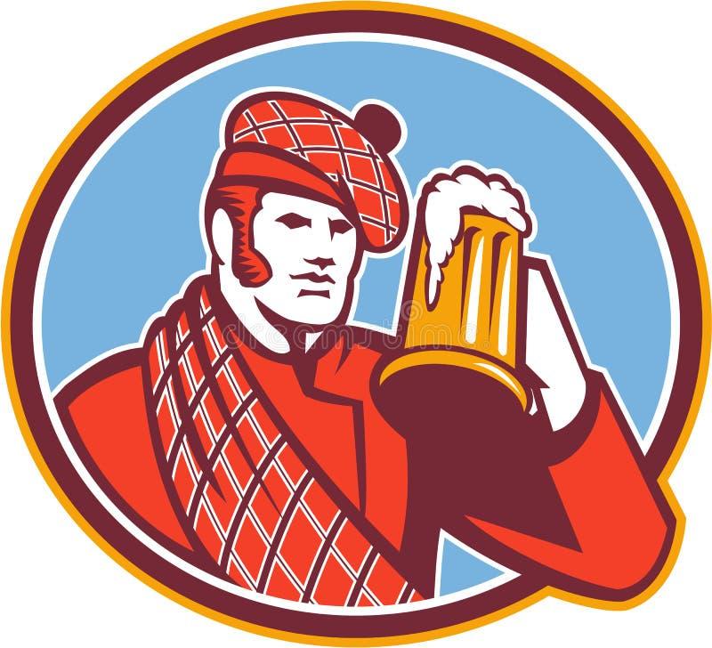 Tasse de buveur de bière de Scotsman rétro illustration libre de droits
