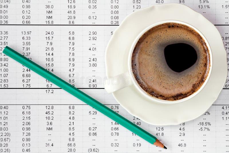 Tasse de café à la page de vue d'ensemble de l'exercice image libre de droits