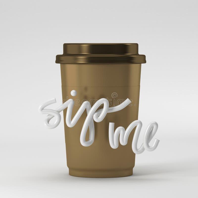 Tasse de café avec la petite gorgée je citation sur le rendu du fond 3D illustration de vecteur