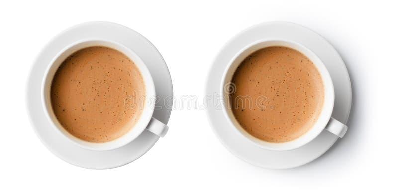 Tasse de café avec la vue supérieure de belle mousse image stock