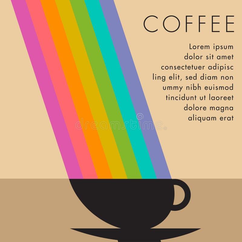 Tasse de café avec le bâton de cannelle sur la table en bois illustration stock