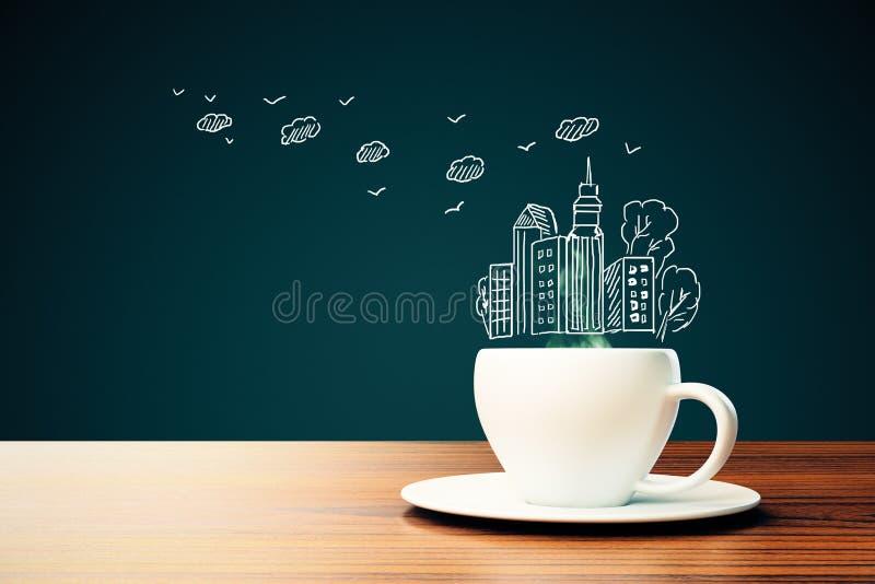 Download Tasse De Café Avec Le Dessin De Ville Illustration Stock - Illustration du concept, district: 77162396