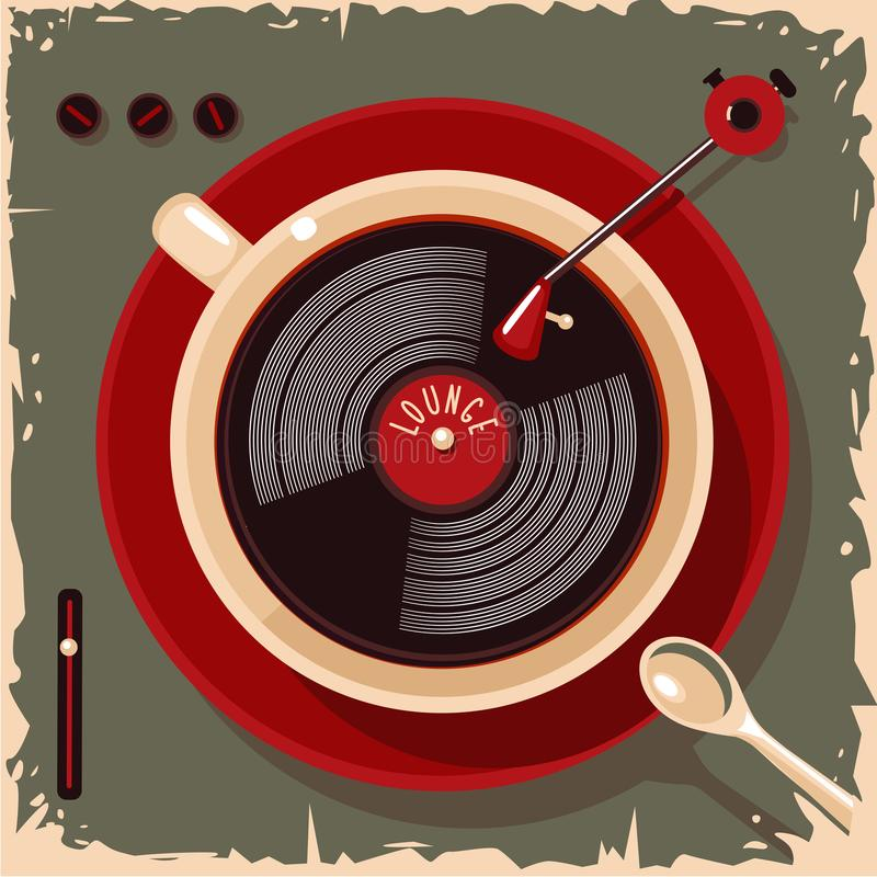 Tasse de café avec le disque vinyle Illustration de vintage de barre de café de salon Rétro style de vecteur illustration de vecteur