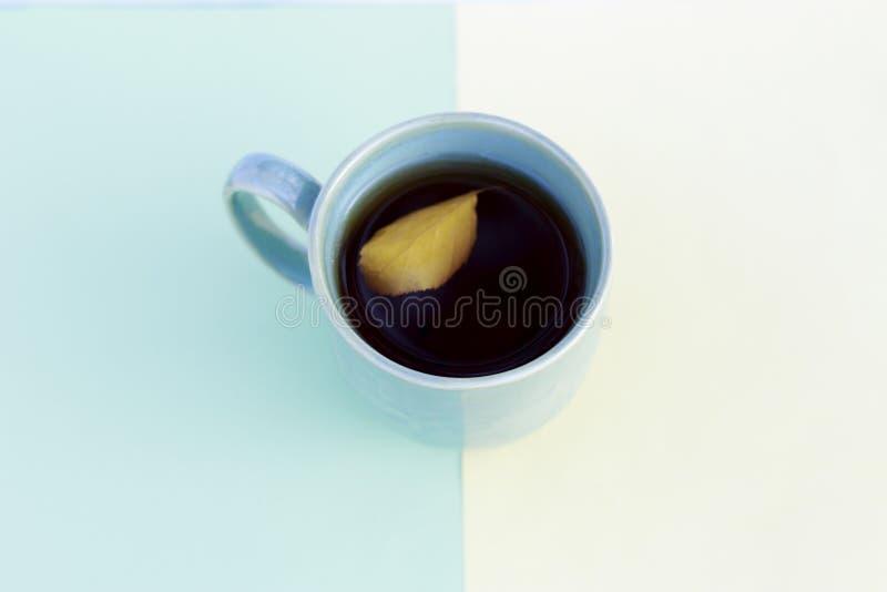 Tasse de café avec le papier jaune de feuille d'automne et bleu multicolore, vue supérieure, fond d'automne image libre de droits
