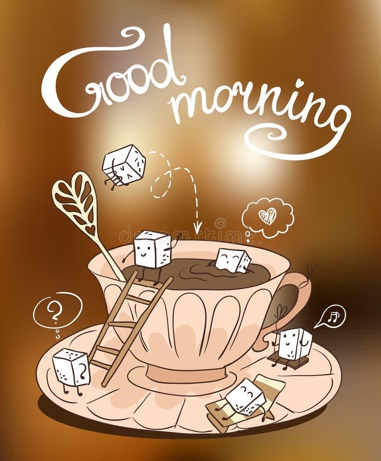 Tasse de café avec les cubes mignons de sucre illustration stock