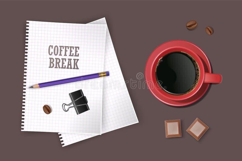Tasse de café avec sur la surface écumeuse Bonnes humeur et vivacité pour le café potable de jour actif La pause-café de thé, ill illustration libre de droits