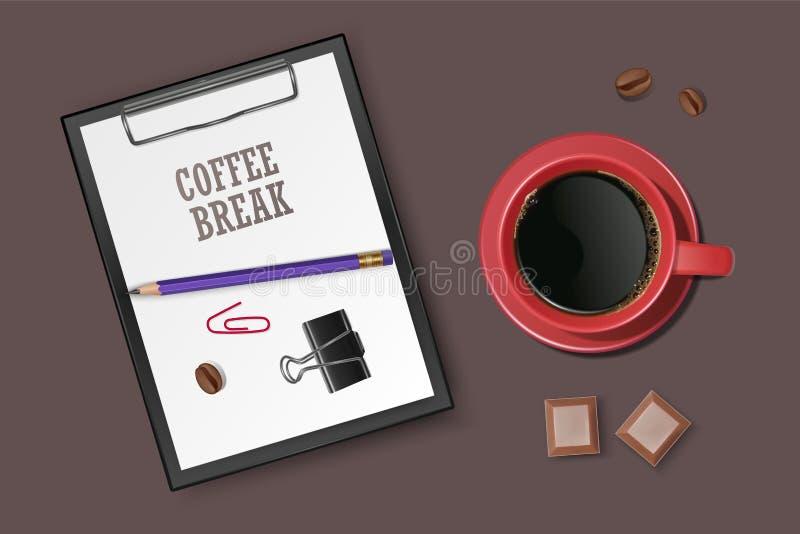 Tasse de café avec sur la surface écumeuse Bonnes humeur et vivacité pour le café potable de jour actif La pause-café de thé, ill illustration de vecteur
