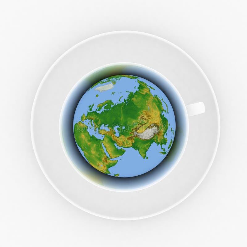 Tasse de café avec un globe illustration stock