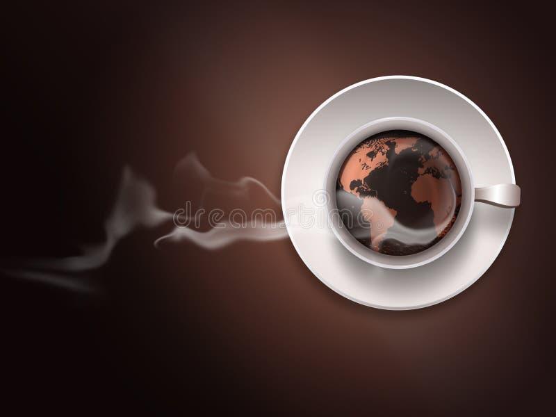 Tasse de café avec une carte du monde illustration libre de droits