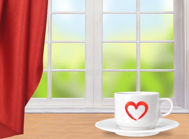 Tasse de café blanc sur la table et la fenêtre en bois avec la nature illustration libre de droits