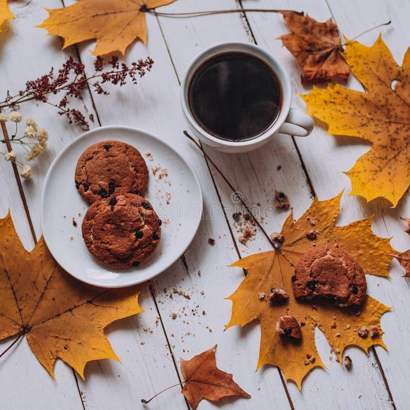 Tasse de café blanche avec des biscuits de farine d'avoine, automne photographie stock libre de droits