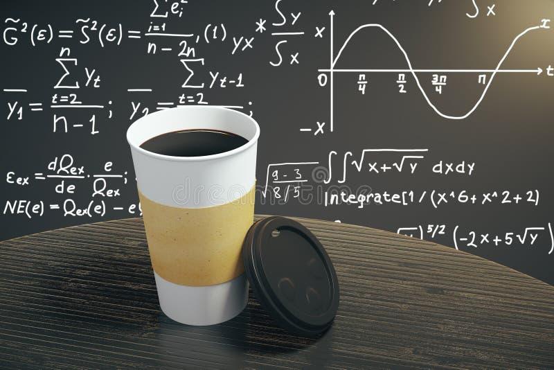 Tasse de café blanche sur la table de brun foncé avec le fond d'équation photographie stock libre de droits