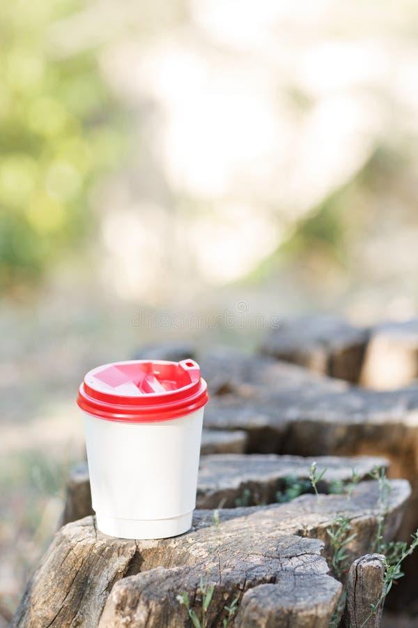 Tasse de café blanche sur un tronçon en parc sur un fond de nature photographie stock