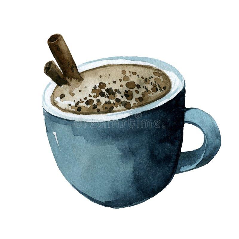 Tasse de café bleue, cacao avec de la cannelle illustration de vecteur
