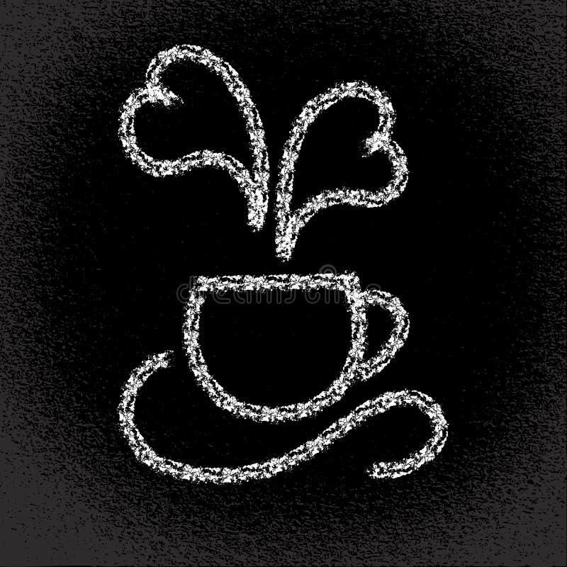 Tasse de café chaud. Cuisson à la vapeur en forme de coeur. Sur le tableau noir. illustration stock