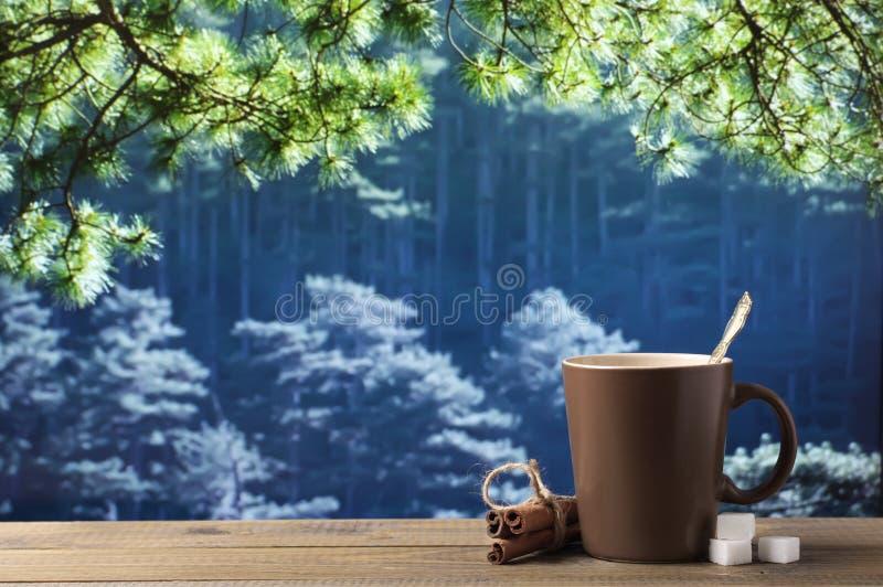 Tasse de café contre le paysage de forêt image stock