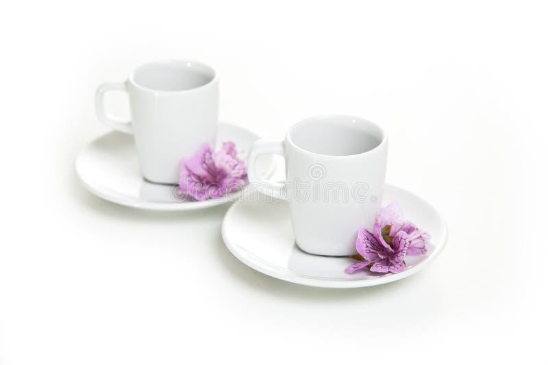Tasse de café dans les soucoupes sur un fond blanc photos stock
