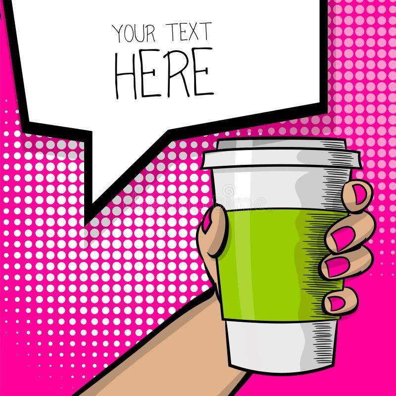Tasse de café de main de bande dessinée d'art de bruit illustration de vecteur