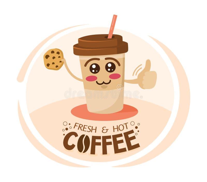 Tasse de café drôle de personnage de dessin animé tenant un biscuit Emportez la mascotte de café Tasse heureuse de cappuccino Pet illustration libre de droits