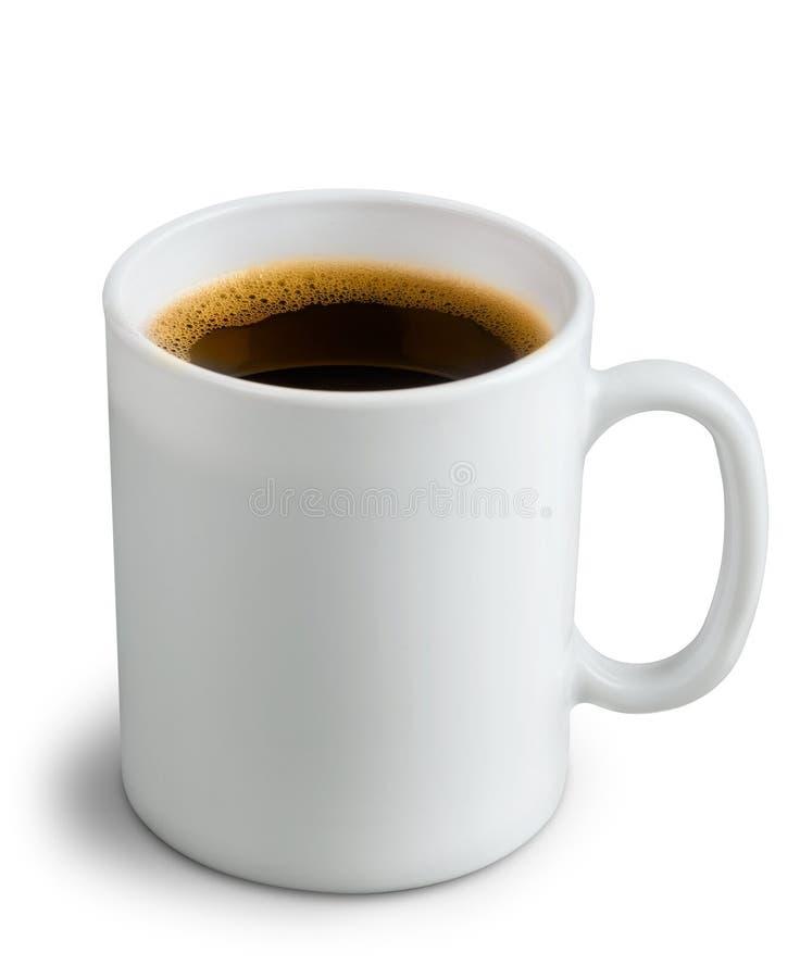 Tasse de café en céramique blanche blanc d'isolement par balai photographie stock libre de droits