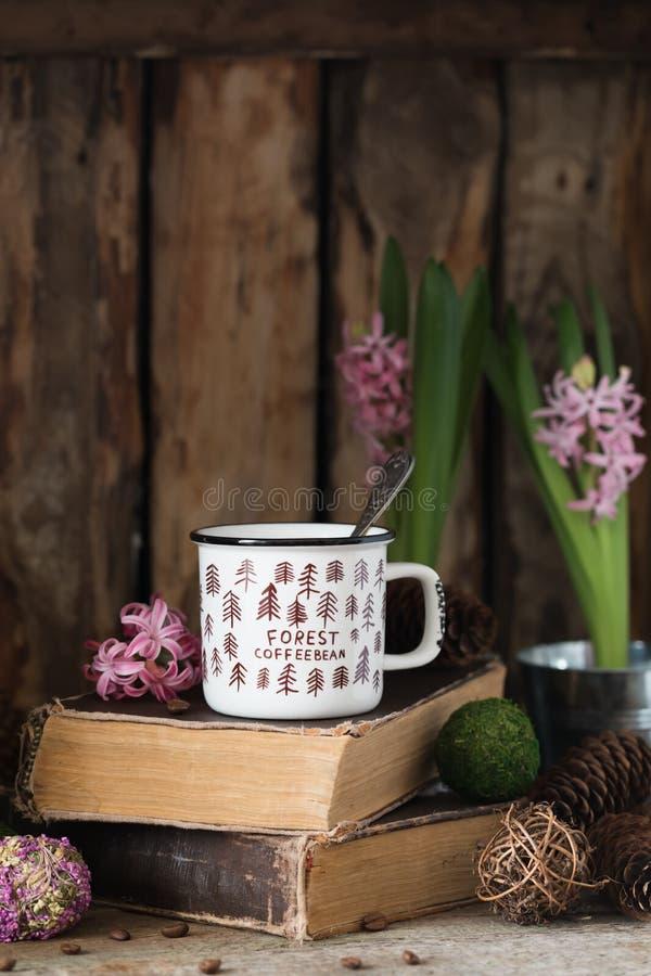 Tasse de café en céramique blanche sur de vieux livres sur le fond en bois rustique avec les cônes et la jacinthe photographie stock libre de droits