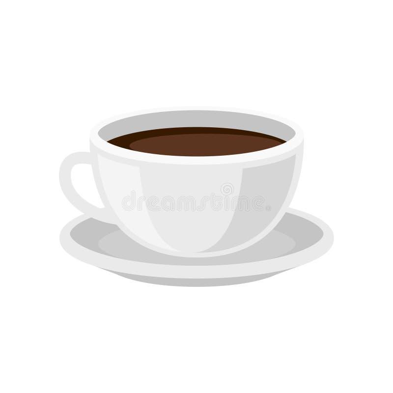 Tasse de café frais sur la soucoupe Boisson savoureuse de matin Boisson chaude Conception plate de vecteur pour le menu de café illustration de vecteur