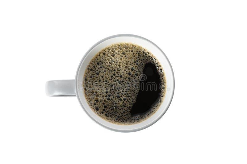 Tasse de café grise d'isolement sur le fond blanc, vue supérieure images libres de droits