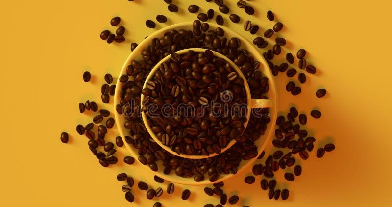 Tasse de café jaune une soucoupe pleine des grains de café photos libres de droits