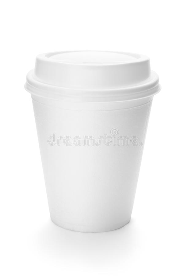 Tasse de café de livre blanc avec le dessus en plastique image stock