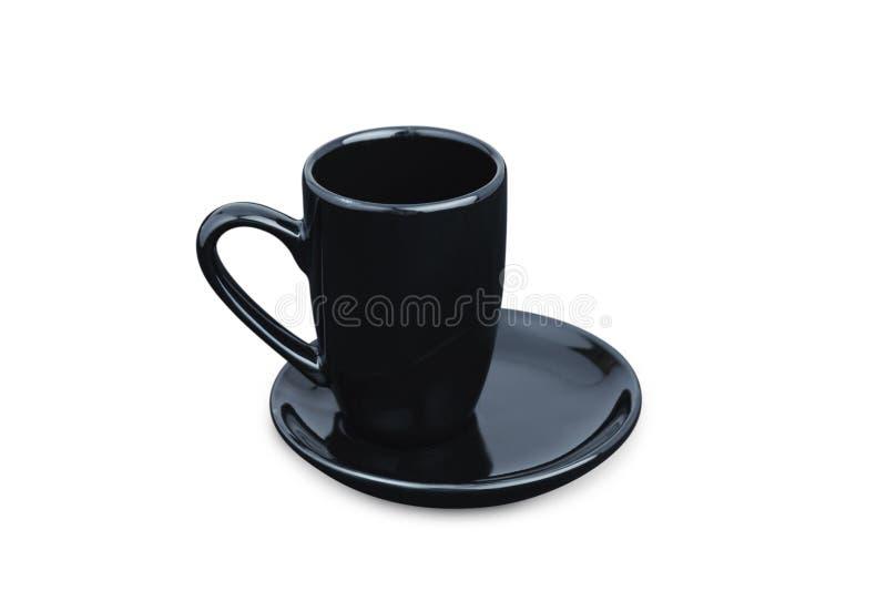 Tasse de café noire d'expresso d'isolement sur le blanc Verre de porcelaine image libre de droits