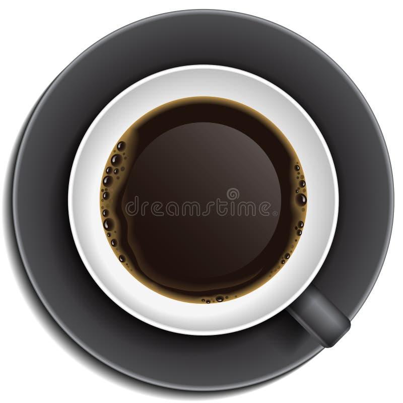Tasse de café noire sur la soucoupe illustration stock