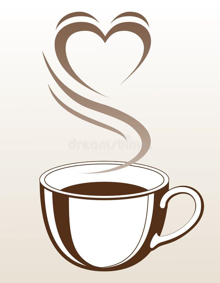 Tasse de café ou de thé avec cuire la forme à la vapeur de coeur illustration libre de droits