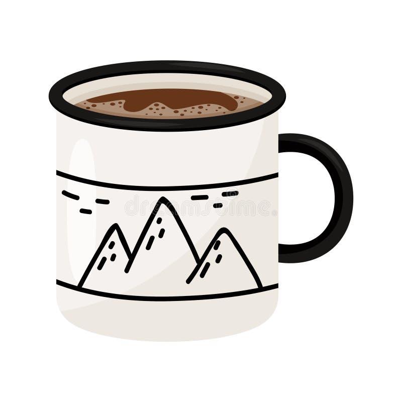 Tasse de café ou de thé chaud Boisson savoureuse Le métal ou la tasse en céramique avec des montagnes impriment Icône plate de ve illustration libre de droits