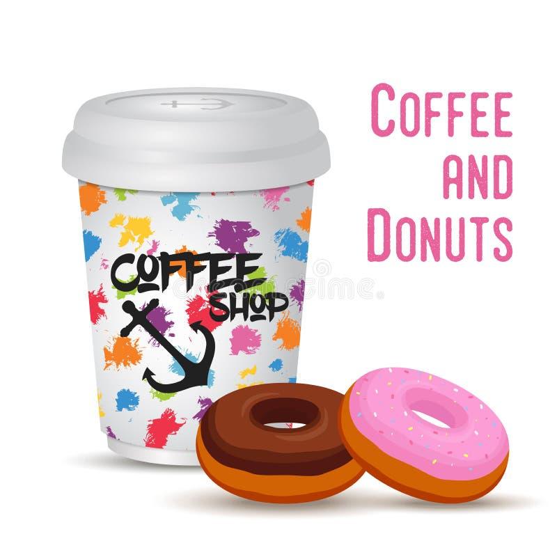 Tasse de café réaliste du vecteur 3d avec le beignet illustration libre de droits